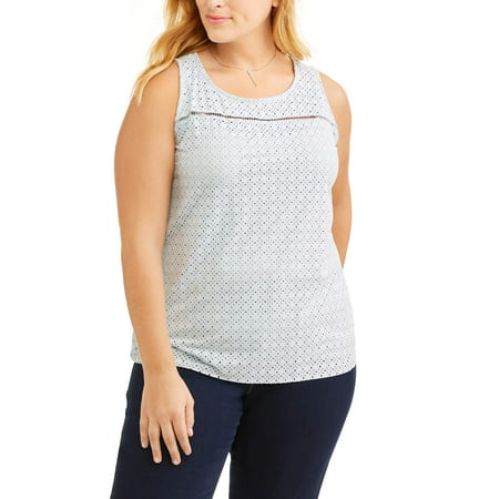 Women's Plus Size Sleeveless Suede Top with Laser Cut Front