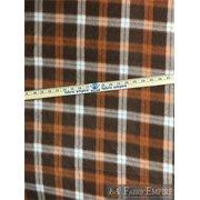 "Fleece Printed Fabric CARAMEL TARTAN BROWN ORANGE WHITE / 58"" Wide / Sold by the yard"