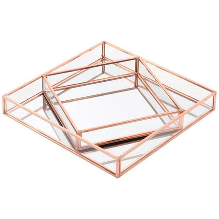 Koyal Wholesale Rose Gold Glass Mirror Square Trays Vanity Set of 2, Decorative Mirrored Trays for Coffee Table, Bar (Mirror Jewelry Tray)