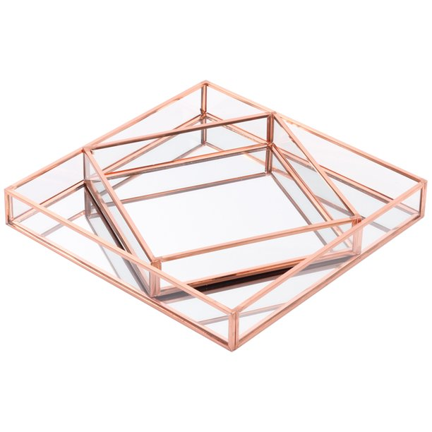 Koyal Wholesale Rose Gold Glass Mirror Square Trays Vanity Set Of 2 Decorative Mirrored Trays For Coffee Table Bar Walmart Com Walmart Com
