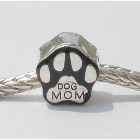 European Style silver plate bead DOG MOM paw bead [Kitchen]