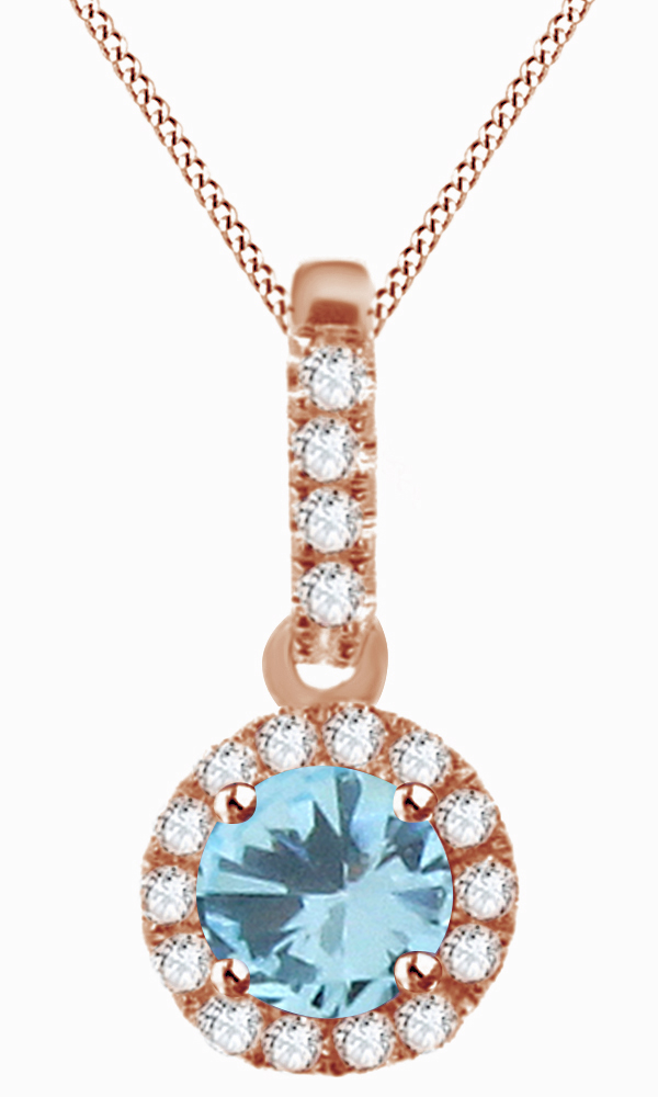 Round Cut Simulated Blue Aquamarine & White Cubic Zirconia Halo Pendant Necklace In 14k Solid White Gold by Jewel Zone US