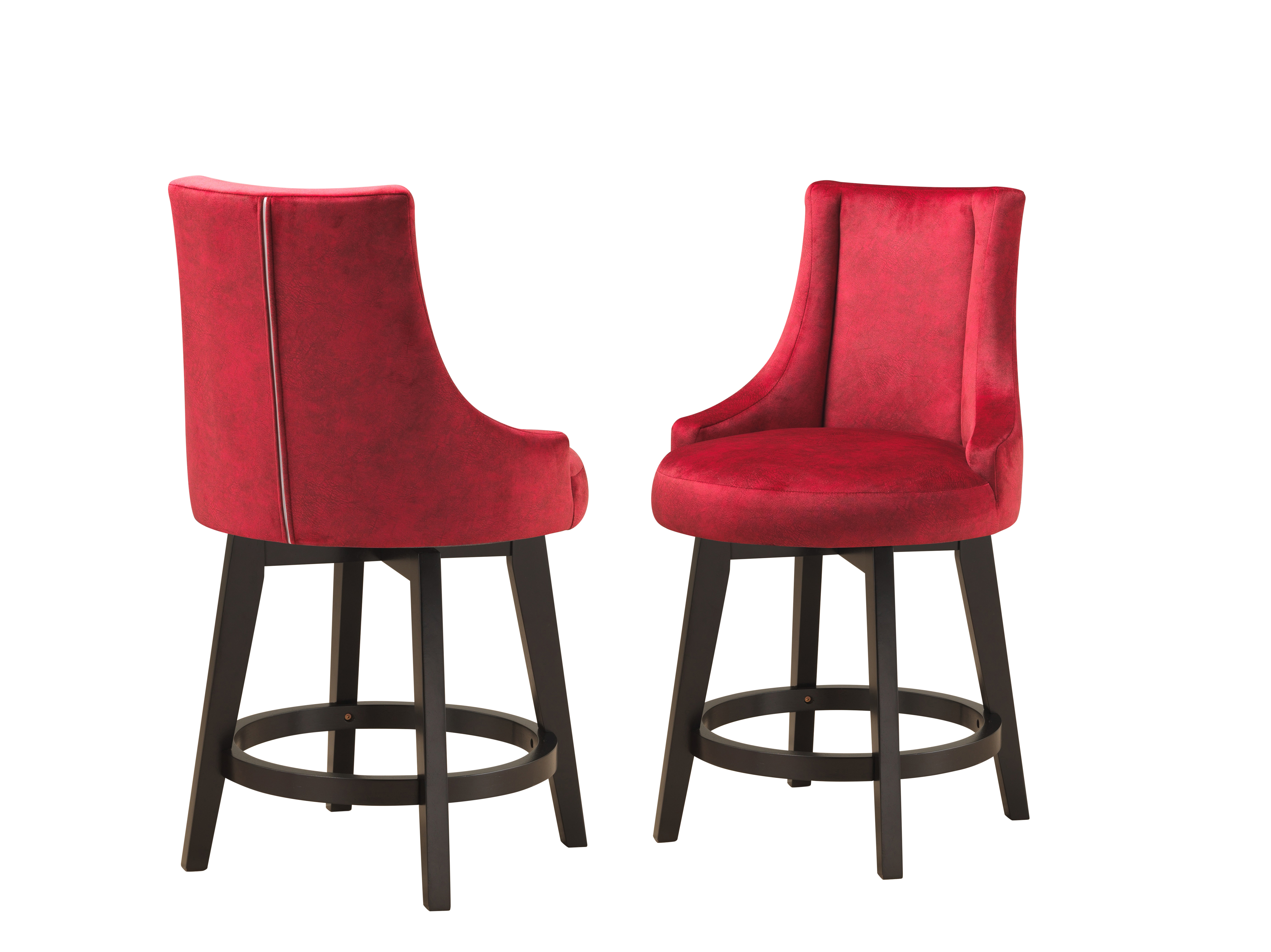 Groovy Walden 25H Swivel Counter Height Bar Stools Red Fabric Cappuccino Wood Legs Set Of 2 Uwap Interior Chair Design Uwaporg