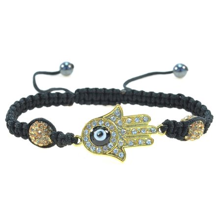 Gold Hamsa Hand with Black Evil Eye Handmade String Bracelet - Good for Protection - 91084 Gold Handmade Bracelets