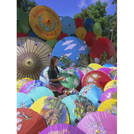 Woman Painting Umbrellas, Bo Sang Umbrella Village, Chiang Mai, Northern Thailand, Asia Print Wall Art By Gavin