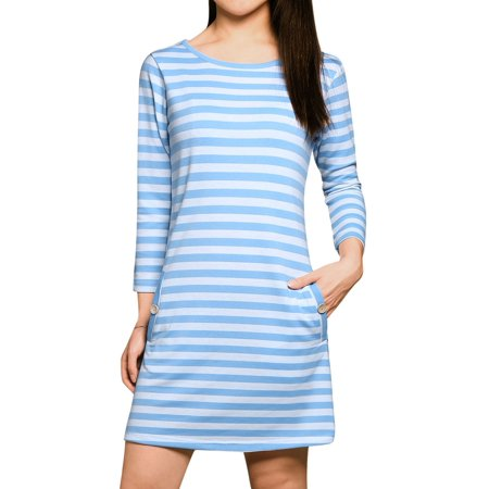 Woman Stripes 3/4 Sleeves Scoop Neck Slant Pockets  T-shirt Dress