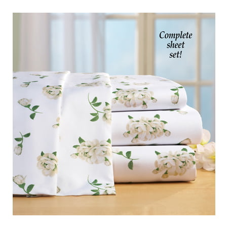 Collections Etc Magnolia Blossom Floral Microfiber Bed Sheet Set, White, Queen