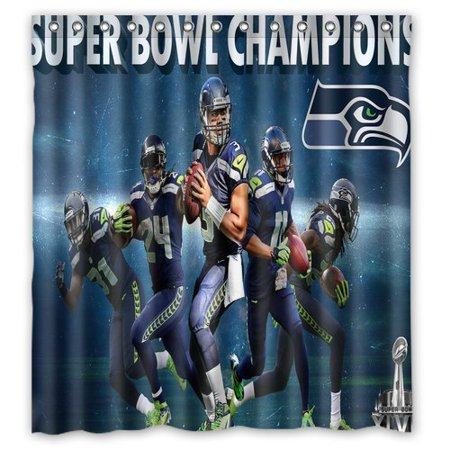 DEYOU Super Bowl Champions Seattle Seahawk Shower Curtain Polyester Fabric Bathroom Size 66x72 Inches