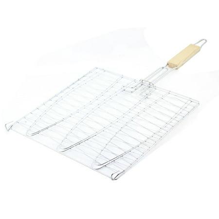 Unique bargains picnic silver tone metal barbecue tool for Fish basket walmart