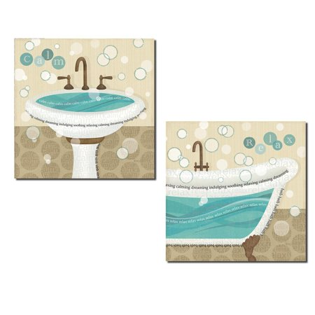 Lovely Brown and Teal Pedestal Sink and Clawfoot Tub 'Calm' and 'Relax' Set by Veronique Charron; Two 12x12in Prints