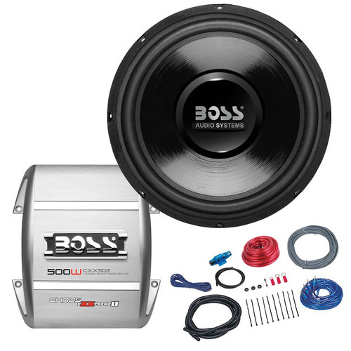 "Boss Audio B112SPKG 500-Watt Bass Package with 12"" Subwoofer and Amp Installation Kit"