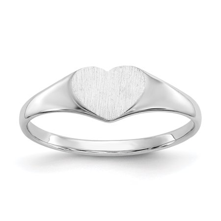 14K White Gold 5.6 MM Heart Engravable Signet Ring, Size 6