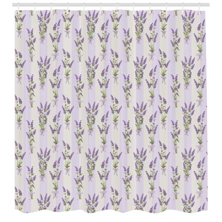 Lavender Shower Curtain Stripes And Flowers With Ribbons Romantic Country Spring Season Inspired Design Art Fabric Bathroom Set Hooks Purple