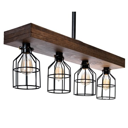 Farmhouse Lighting Triple Wood Beam Rustic Decor Chandelier Light - Great in Kitchen, Bar, Industrial, Island, Billiard, Foyer and Edison Bulb. Wooden Vintage Reclaimed Four Light With Cages (Smooth)