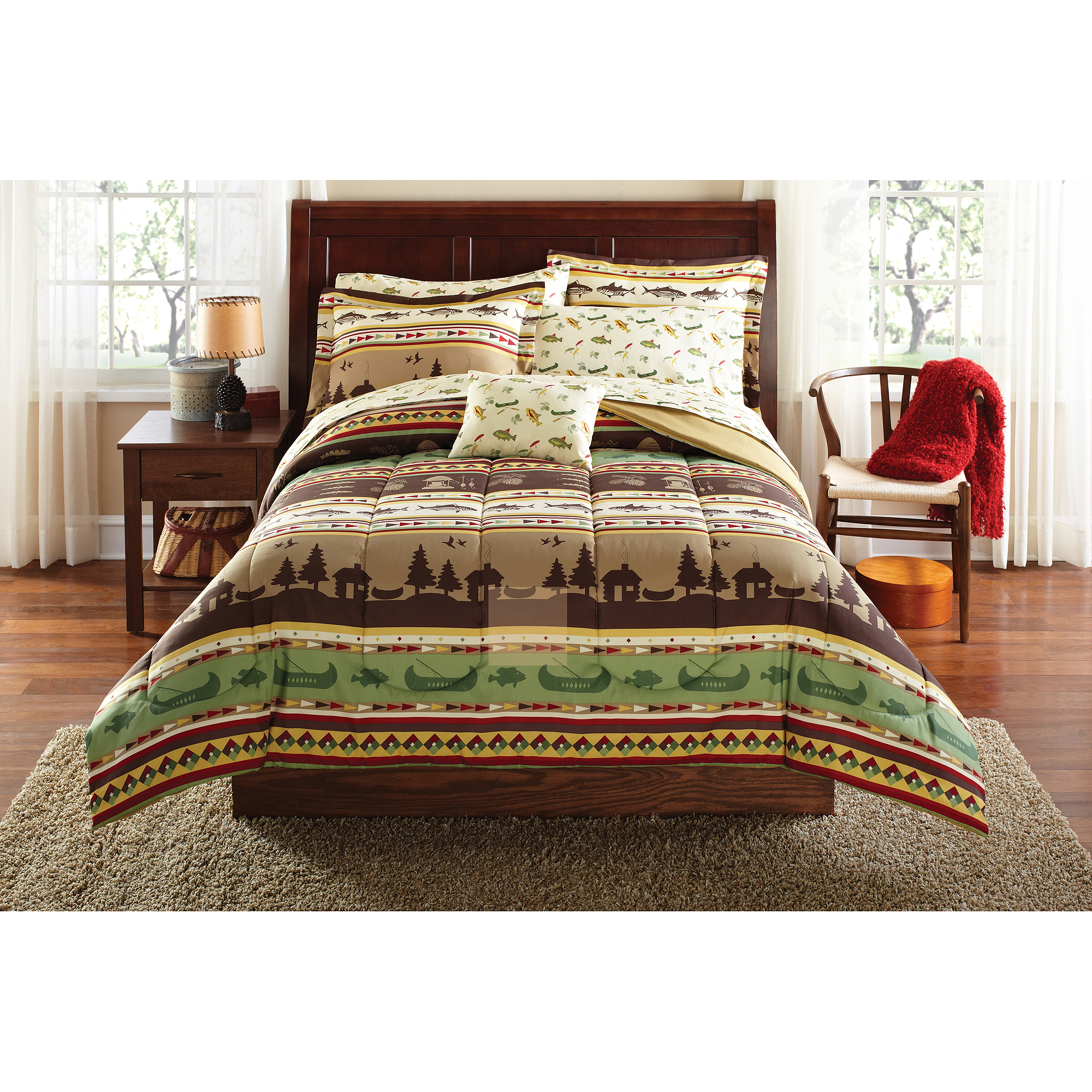 Mainstays Gone Fishing Bed in a Bag Coordinating Bedding Set
