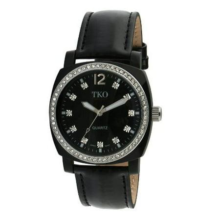 Diamond Bezel Leather (ORLOGI Women's TK610-BK Milano Ice Leather Crystal Bezel Watch)