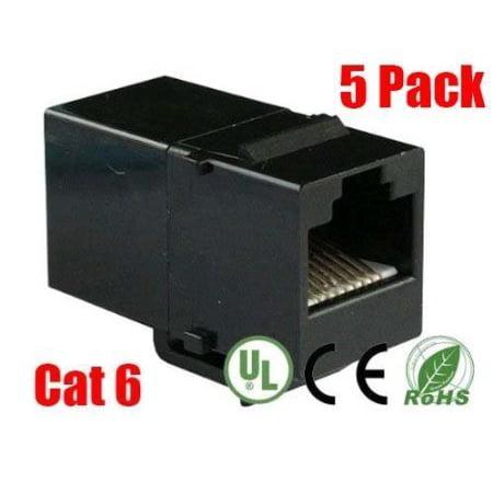 5pk Compression Connectors (iMBAPrice RJ45 Female to Female UTP CAT.6 Keystone Coupler, Black, 5 Pack)