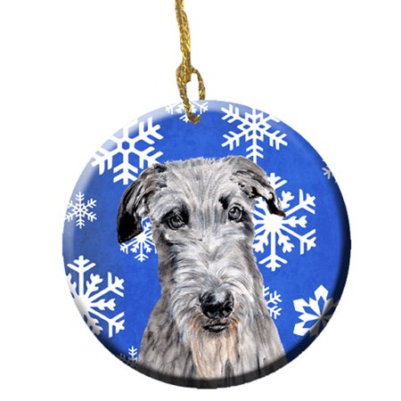 Scottish Deerhound Winter Snowflakes Ceramic Ornament SC9778CO1