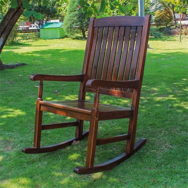 Pemberly Row Acacia Wooden Patio Rocker in Brown