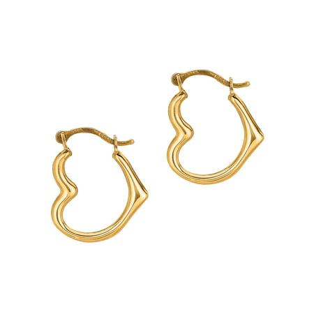 10K Real Yellow Gold Heart Hoop Earrings