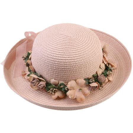 08734d690 Women Lady Wide Brim Hat Summer Beach Straw Cap Sun Floppy Hats for Adults  (Flesh Pink Garland)
