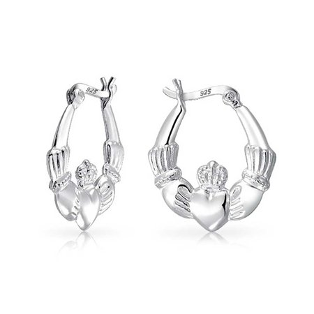 - BFF Claddagh Celtic Irish Friendship Love Round Hoop Earrings For Women Polished 925 Sterling Silver .75 Dia