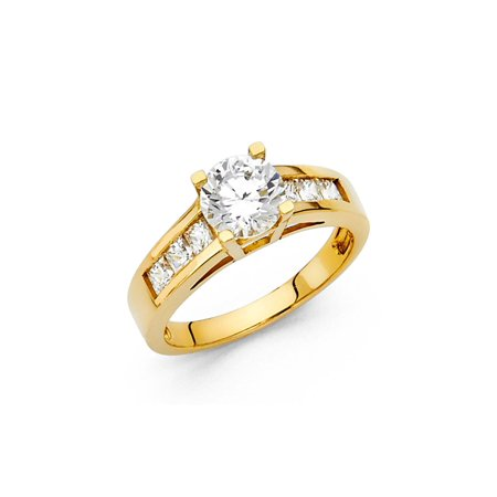 14K Solid Yellow Gold Round Cubic Zirconia with Side Stones Wedding Engagement Ring , Size 9