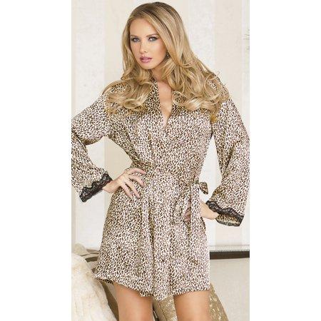 Leopard Print Satin Robe, Animal Print Robe