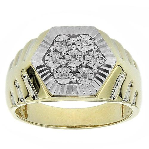 10k Yellow Gold Men's Diamond Accent Hexagonal Ring Size 9