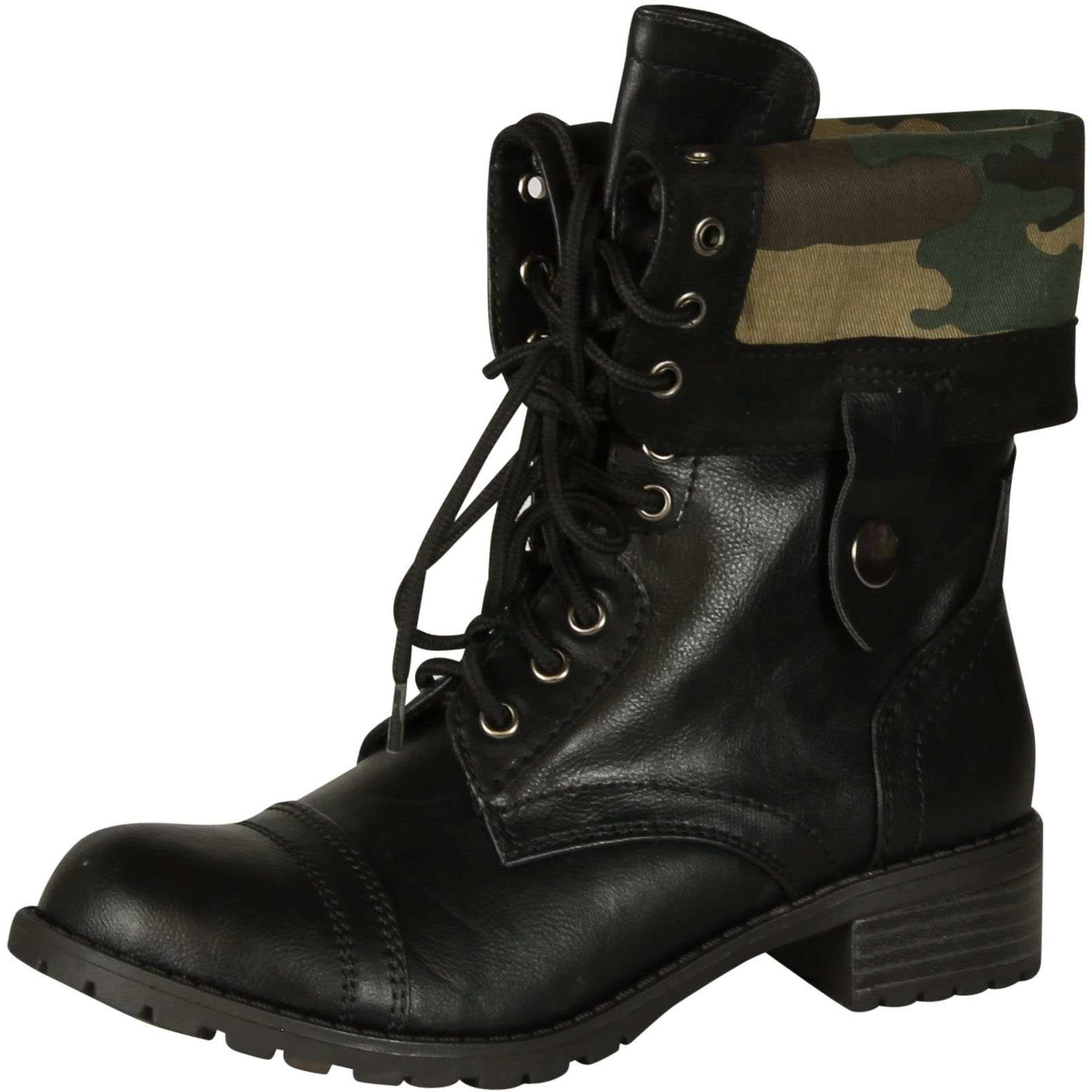 Qupid Military Combat Boot Fold-over Cuff with Plaid Lining