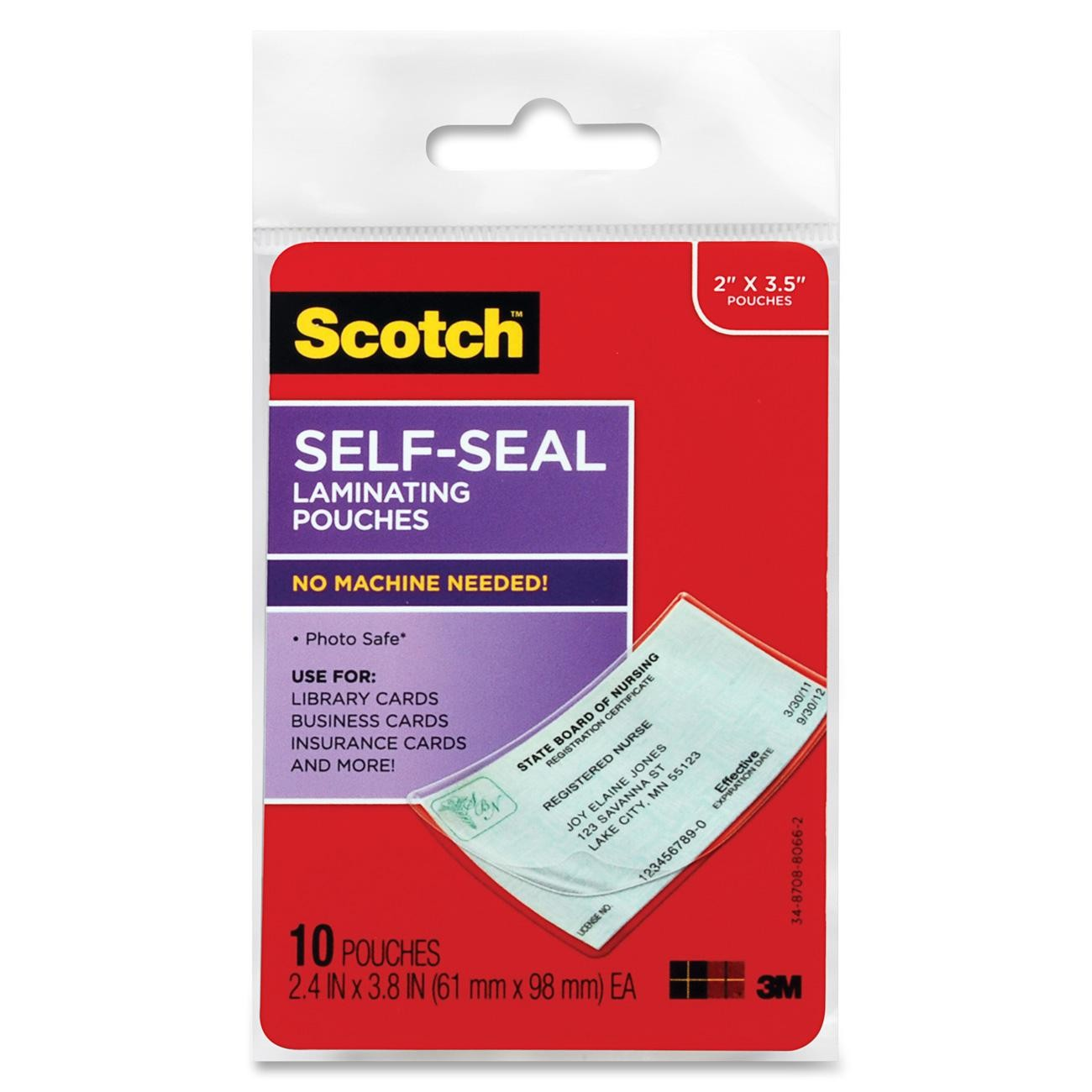 Scotch Self-Sealing Laminating Pouch, 10 Sheets per Pack, Business Card