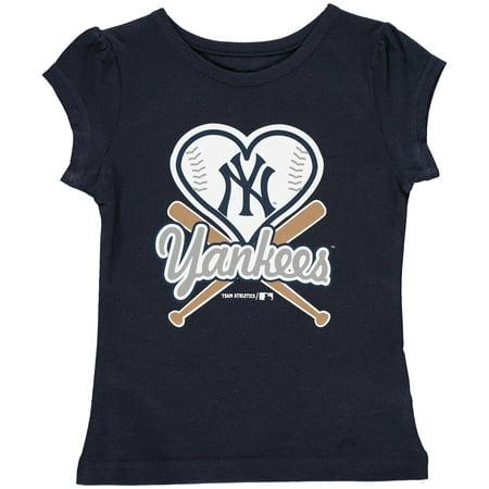 MLB NEW YORK YANKEES TEE Short Sleeve Girls Cotton Jersey Team Color (All Girl Sleepaway Camps In New York)