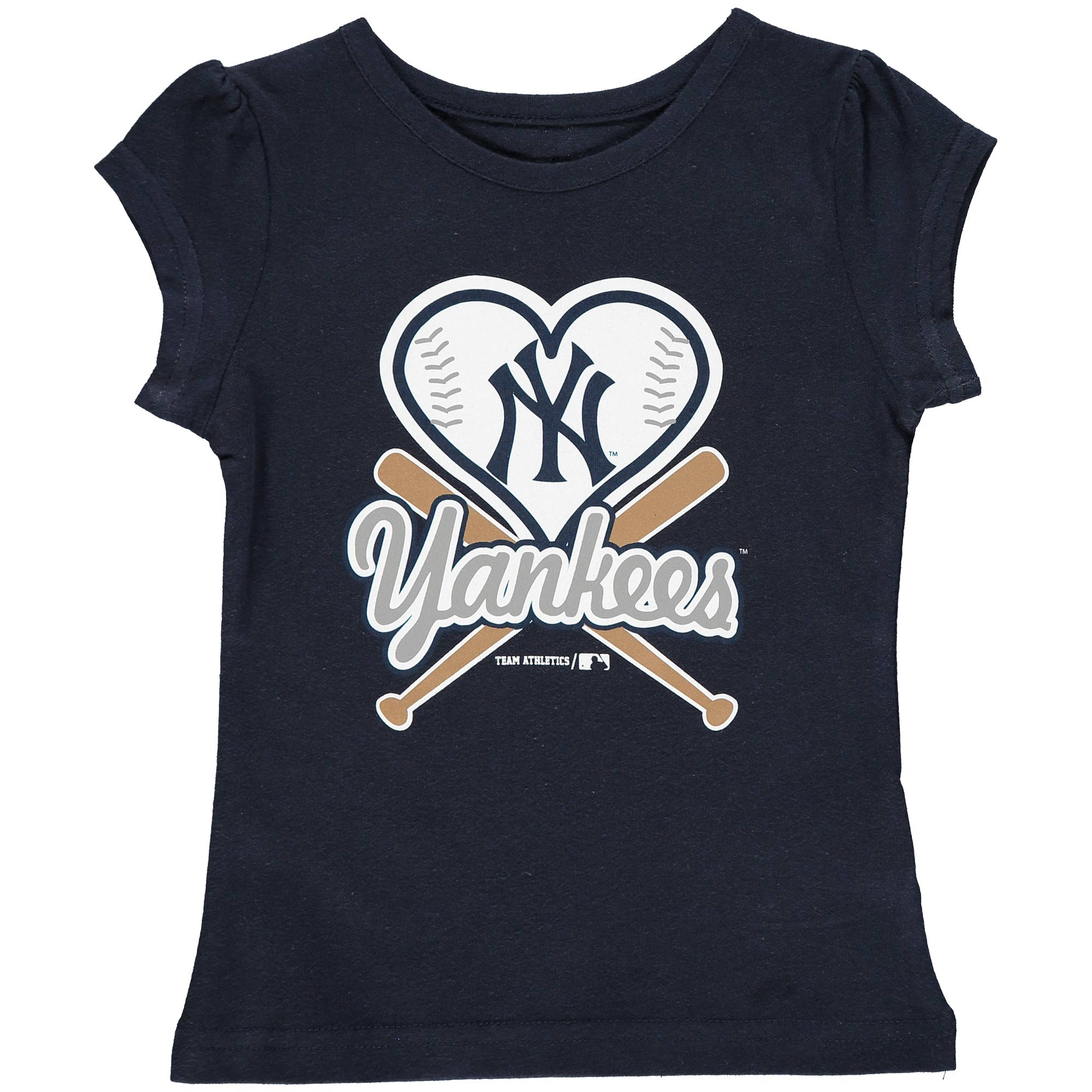 MLB NEW YORK YANKEES TEE Short Sleeve Girls Cotton Jersey Team Color 12M-4T