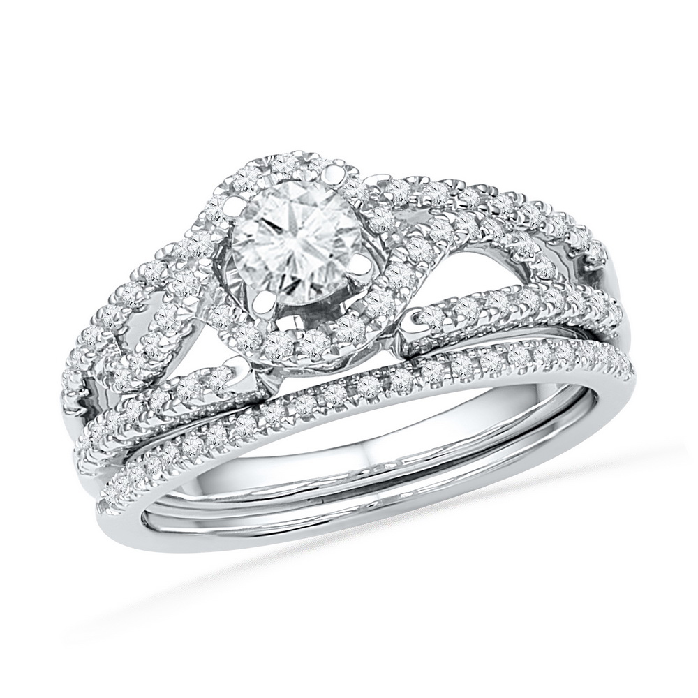 14kt White Gold Womens Round Diamond Bridal Wedding Engagement Ring Band Set 3 4 Cttw by GND