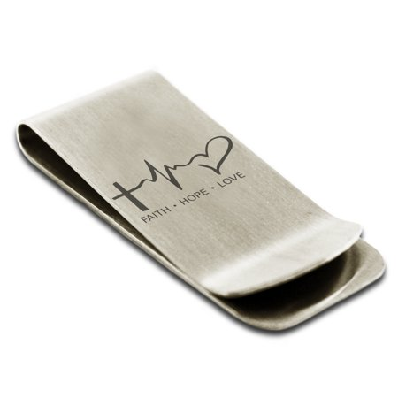 Stainless Steel Faith Hope Love Lifeline Engraved Money Clip Credit Card Holder