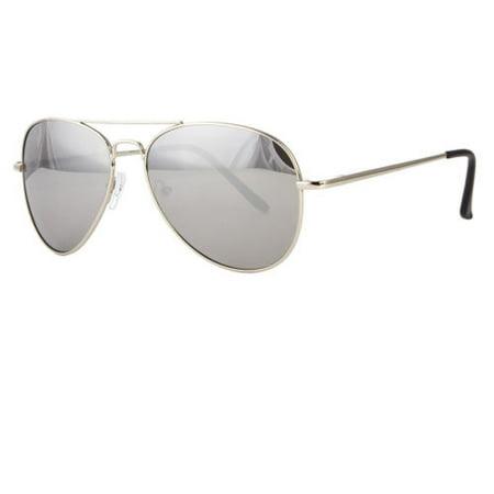 Classic Silver Mirror Aviator Retro Mens Fashion Metal Vintage Designer (Dark Rimmed Glasses Fashion)