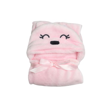 Cute Animal Cartoon Baby Kid Hooded Bathrobe Toddler Bath Towel(Pink Bear)