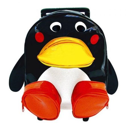 Childrens Kid Black Penguin Pull Along Trolley Roller Backpack Bag