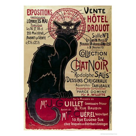 Poster Advertising an Exhibition of the Collection Du Chat Noir Cabaret at the Hotel Drouot, Paris Cat Vintage Advertisement Print Wall Art By Th?ophile Alexandre Steinlen