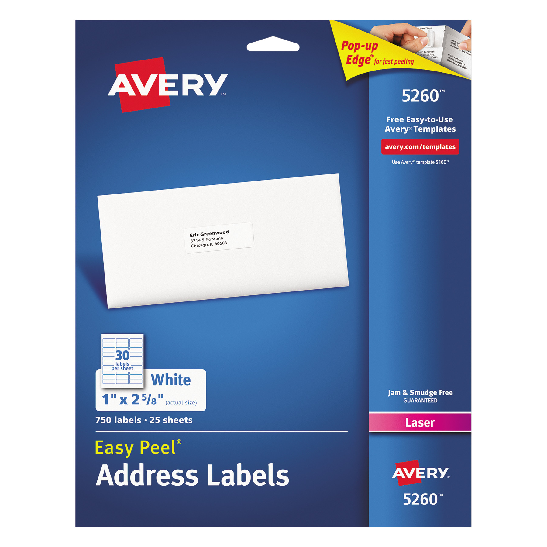 """Avery(R) Easy Peel(R) Address Labels for Laser Printers 5260, 1"""" x 2-5/8"""", Pack of 750"""