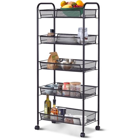 Costway 5 Tier Storage Rack Trolley Cart Home Kitchen Organizer Utility Baskets Black (Utility Body Racks)