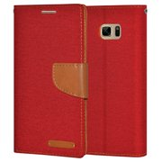 Premium Canvas Pocket Wallet Credit Card Holder Flip Case Folio Cover for Samsung GALAXY Note7 N930 - Red