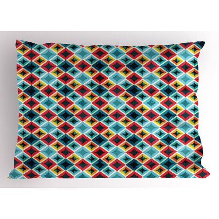 Geometric Pillow Sham Grunge Colorful Mosaic Diagonal Artsy Squares Frame with Crystal Effects Image, Decorative Standard Size Printed Pillowcase, 26 X 20 Inches, Multicolor, by Ambesonne