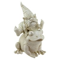 Northlight Frog and Gnome Spring Outdoor Garden Statue