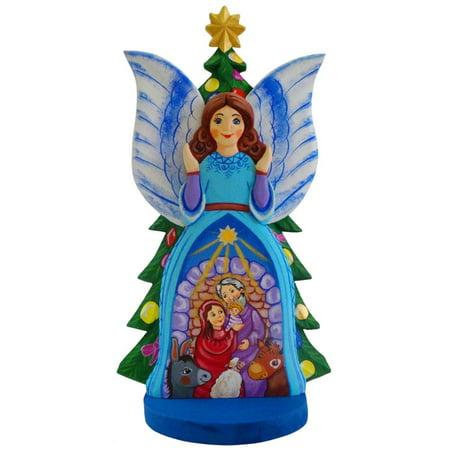 Guardian Angel Nativity Scene Ukrainian Carved Solid Wood Figurine 12 Inches