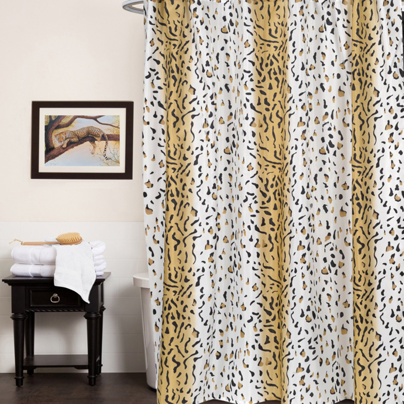 Sweet Home Collection Polyester Fabric Shower Curtain Hailey Animal Print