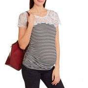 Maternity Short Sleeve Top with Lace Trim