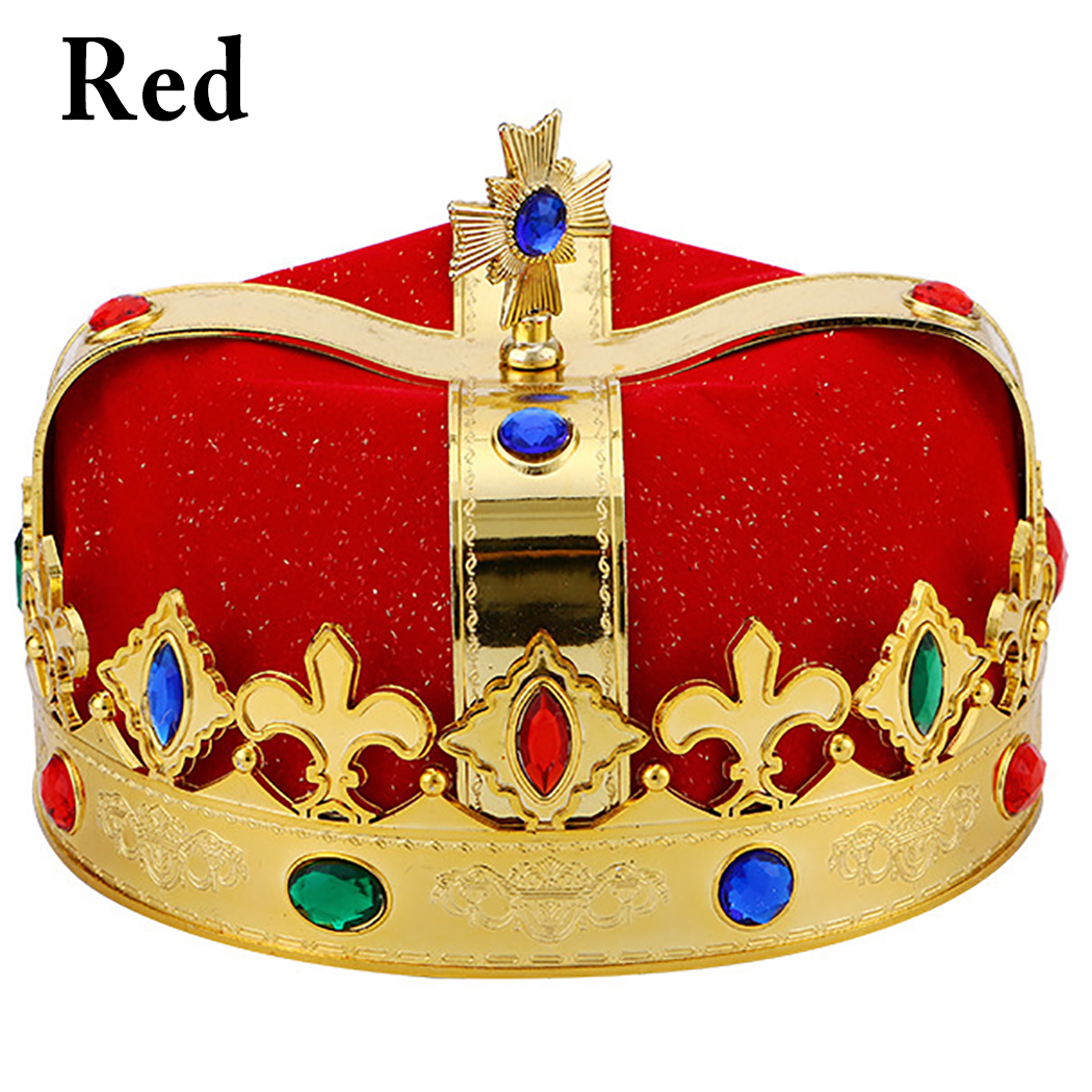 Creative King Crown for Royal King or Queen Costume Funny Party Crown Decorative Rhinestone Prince Crown