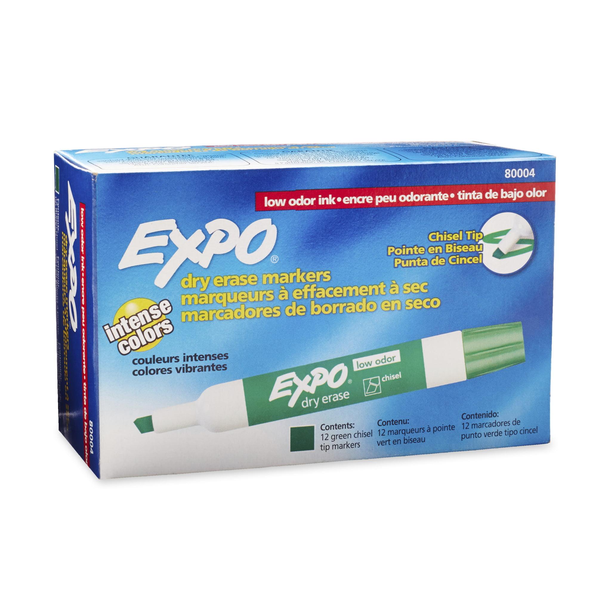 EXPO Low Odor Dry Erase Marker, Chisel Tip, Green, Dozen