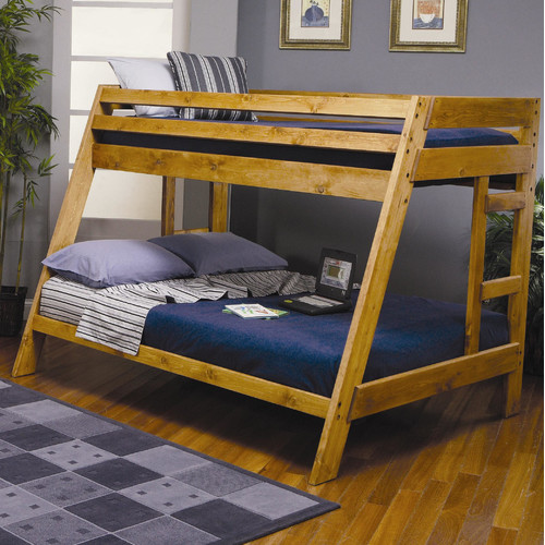 Coaster Wrangle Hill Twin Over Full Wood Bunk Bed, Amber Wash Finish (Box 1 of 2) by Coaster of America